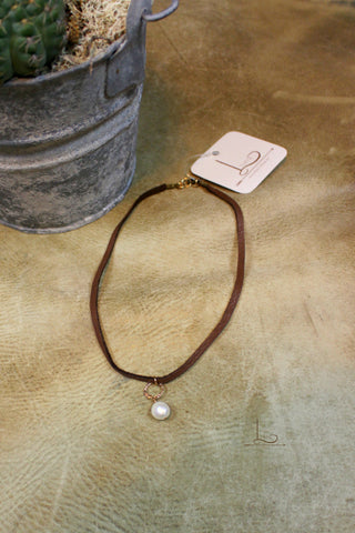 Leather & Pearl Choker - Brown