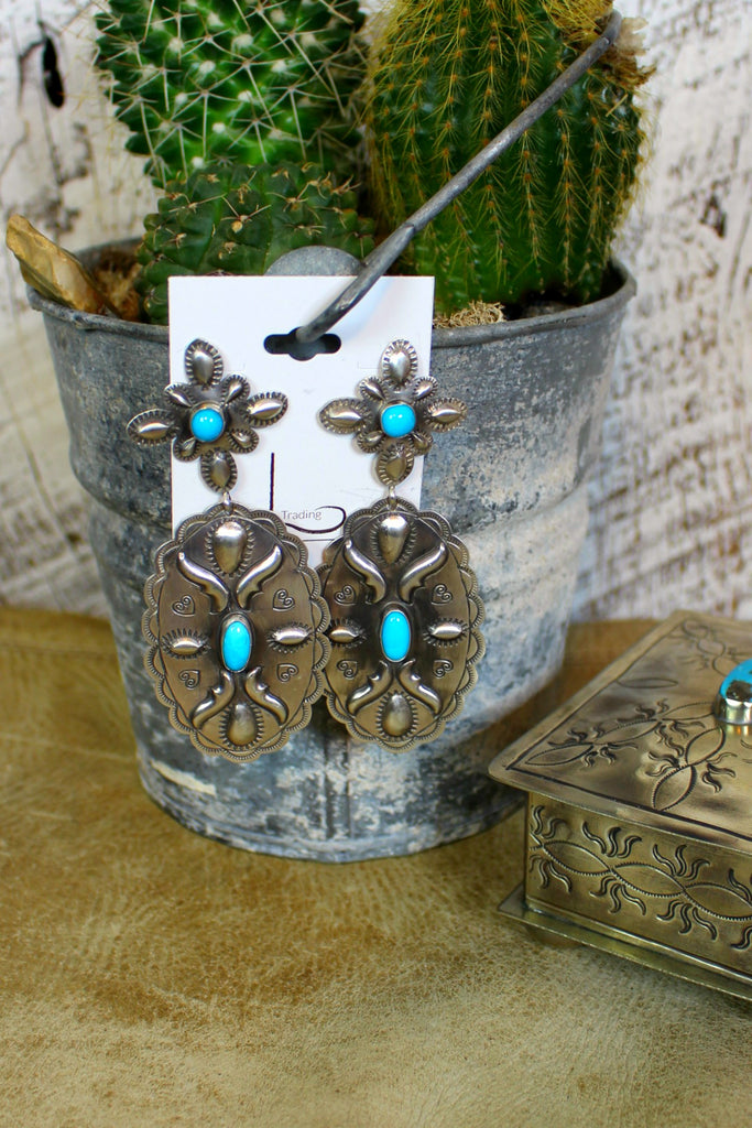 Grande Sterling & Turquoise Concho Earrings - L Trading