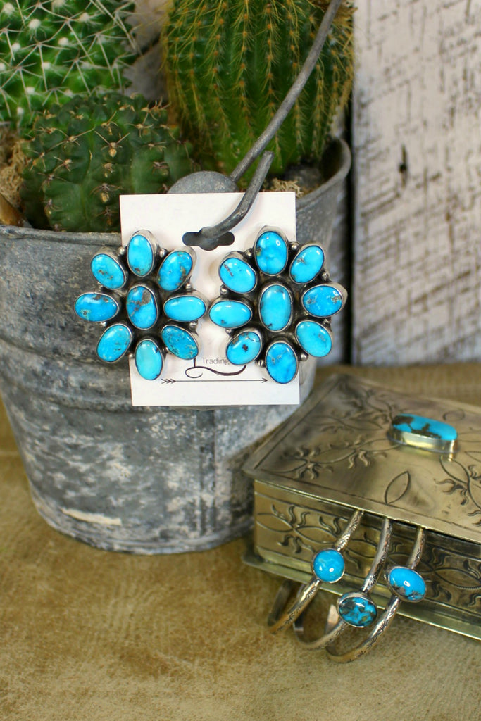 The Bluebird Turquoise Cluster Earrings - L Trading