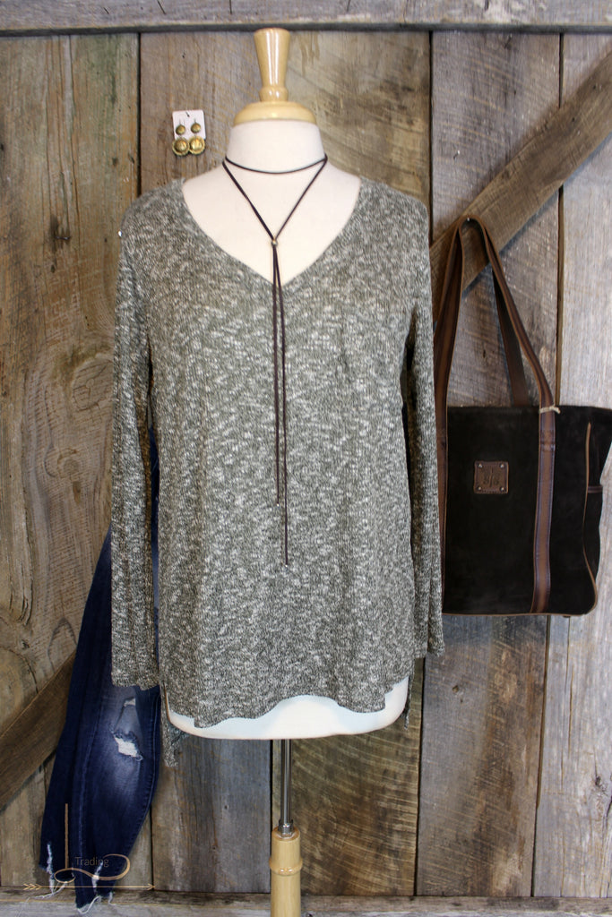Heather Olive Top - L Trading
