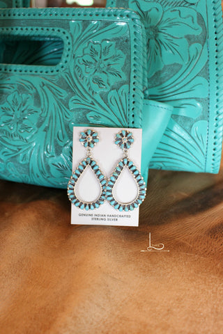 Navajo Turquoise Teardrop Earrings