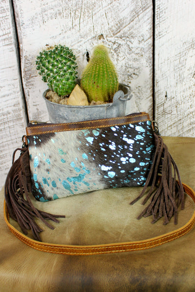 Cowhide Mini Crossbody/Clutch with Turquoise