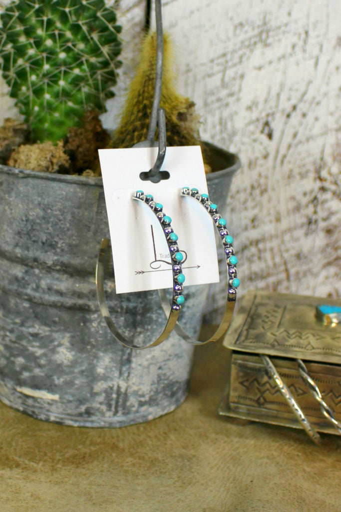 Grande Turquoise Hoops - L Trading