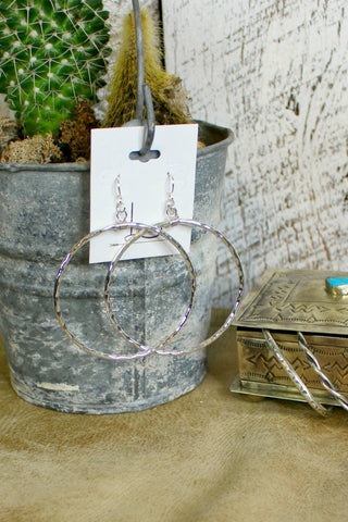 Grande Hammered Sterling Hoops