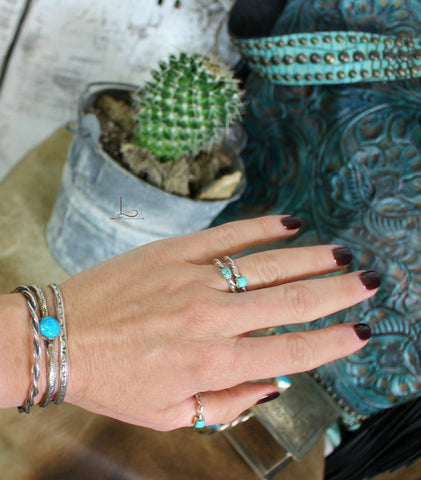 Twisted Sterling & Turquoise Ring