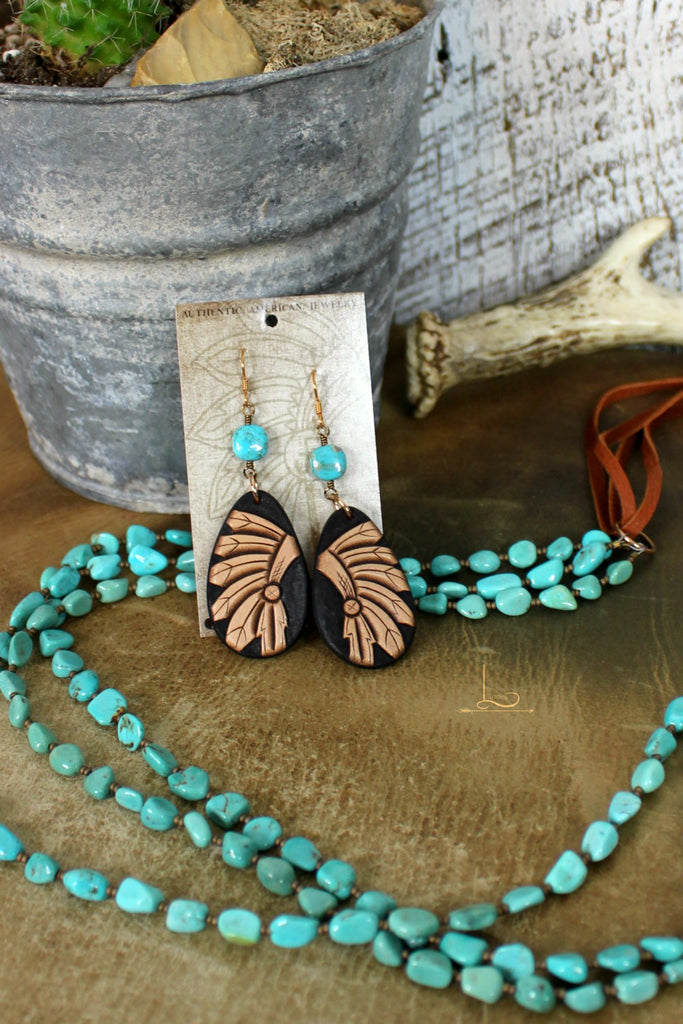 Leather Tooled & Turquoise Teardrop Earrings - L Trading