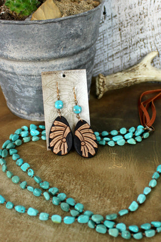 Leather Tooled & Turquoise Teardrop Earrings