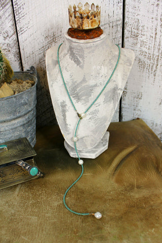 Turquoise & Fresh Water Pearl Lariat Necklace