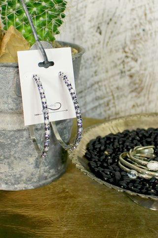 Grande White Buffalo Sterling Hoops