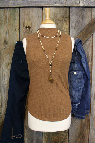 Camel Knit Sleeveless Top