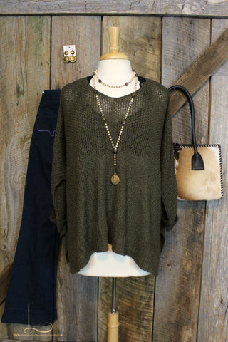Olive Knit Dolman Sweater