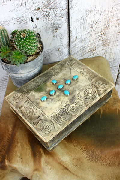 Grande Hand Stamped Silver Box with Turquoise Cross