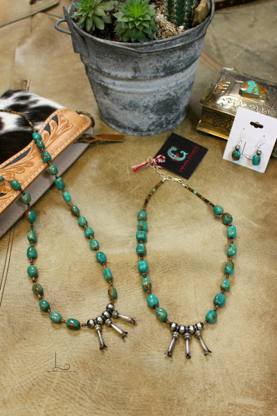 The Verde Turquoise &  Squash Blossom Necklace