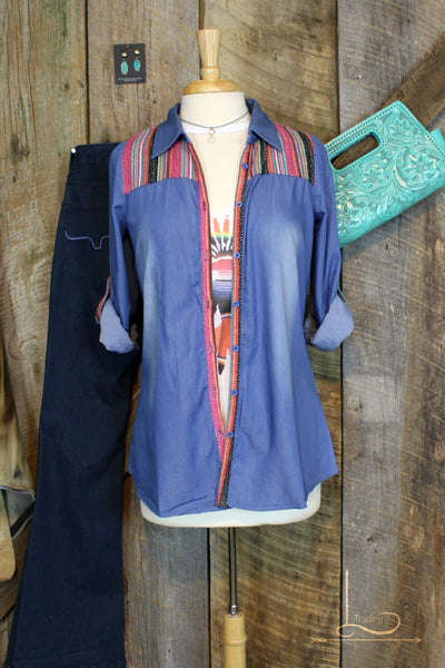 Chambray Serape Top - L Trading