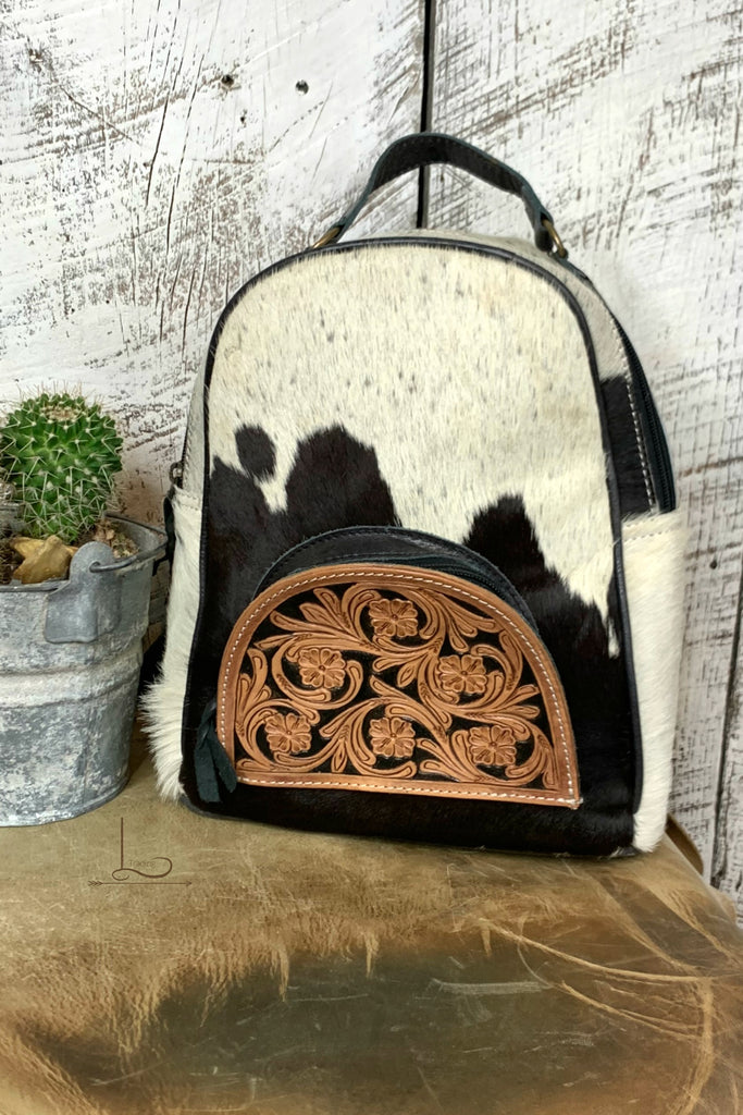 The Tucson Cowhide Mini Backpack in Black