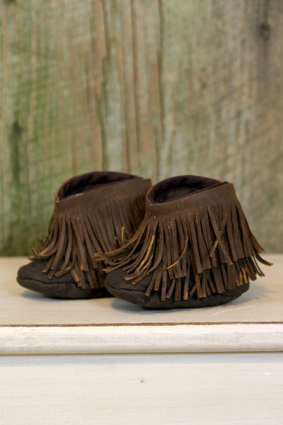 Brown Fringe Baby Booties - L Trading