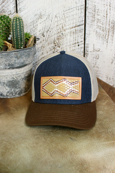 Denim & Brown Cap with Tooled Leather Patch