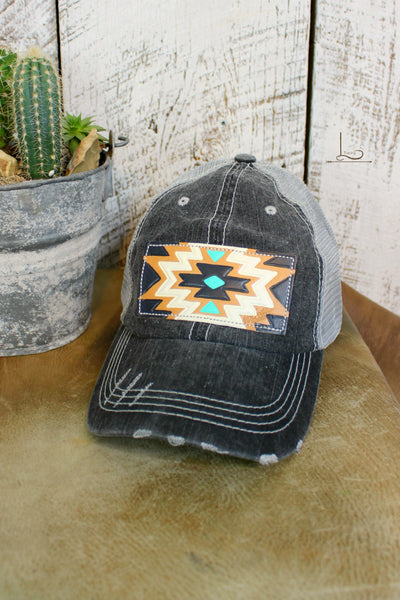 Charcoal Grey Low Crown Cap with Tooled Leather Patch