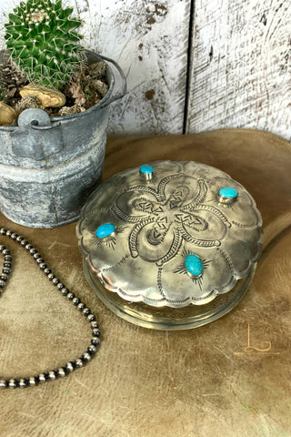 Hand Stamped Silver & Turquoise Round Box