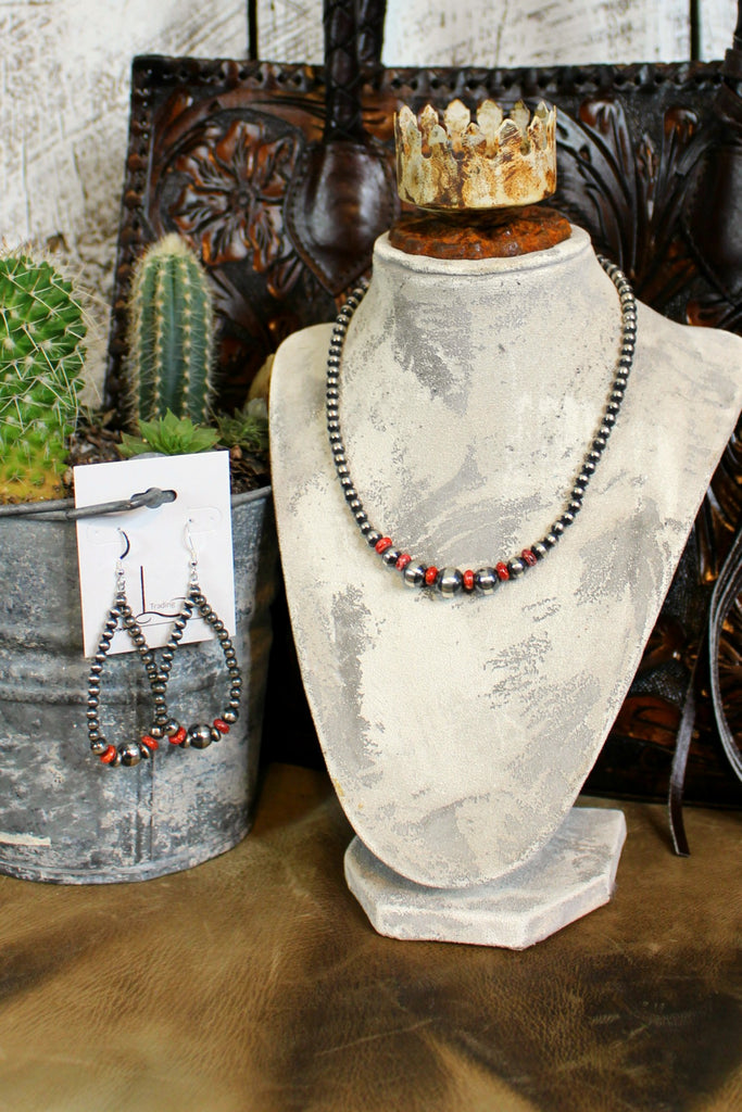 "16"" Navajo Pearls with Dark Red Spiny Oyster Necklace & Teardrop Earrings"