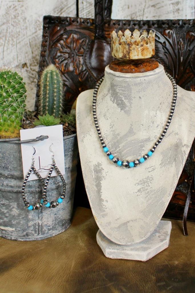 "16"" Navajo Pearls with Turquoise Necklace & Teardrop Earrings"
