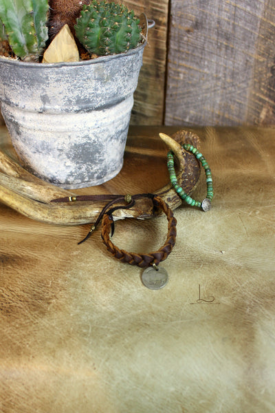 Braided Leather & Coin Charm Bracelet - L Trading