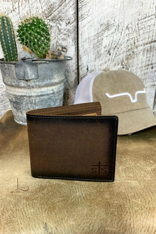 Foreman Wallet in Distressed Brown Leather