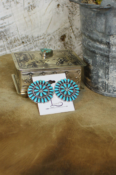 Turquoise Med Cluster Earrings