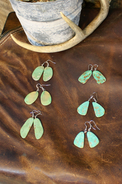 Navajo Turquoise Slab Earrings - L Trading