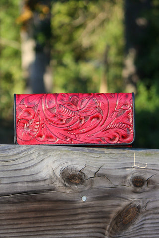 Antonio Red Tooled Wallet/Clutch