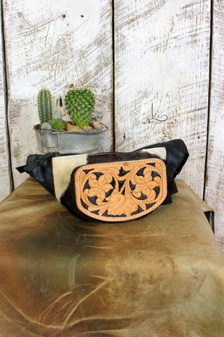 Tooled Leather Cowhide Fanny Pack