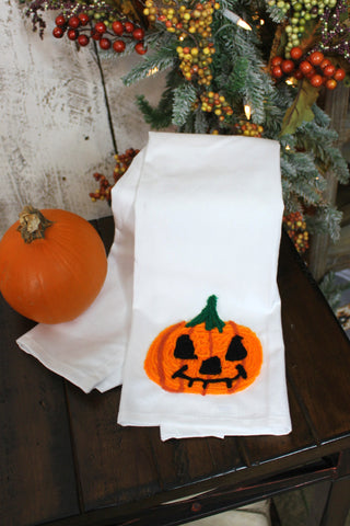 Hand Stitched Pumpkin towel