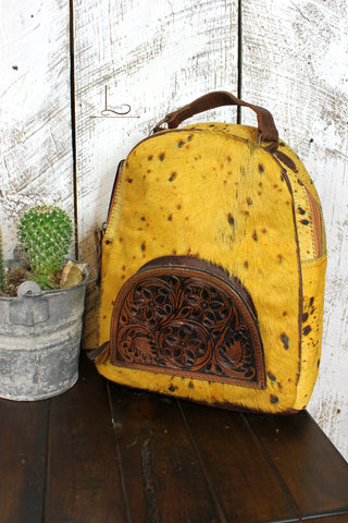 The Tucson Mustard Cowhide Mini Backpack