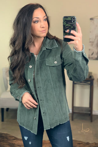 The Olive Distressed Corduroy Jacket