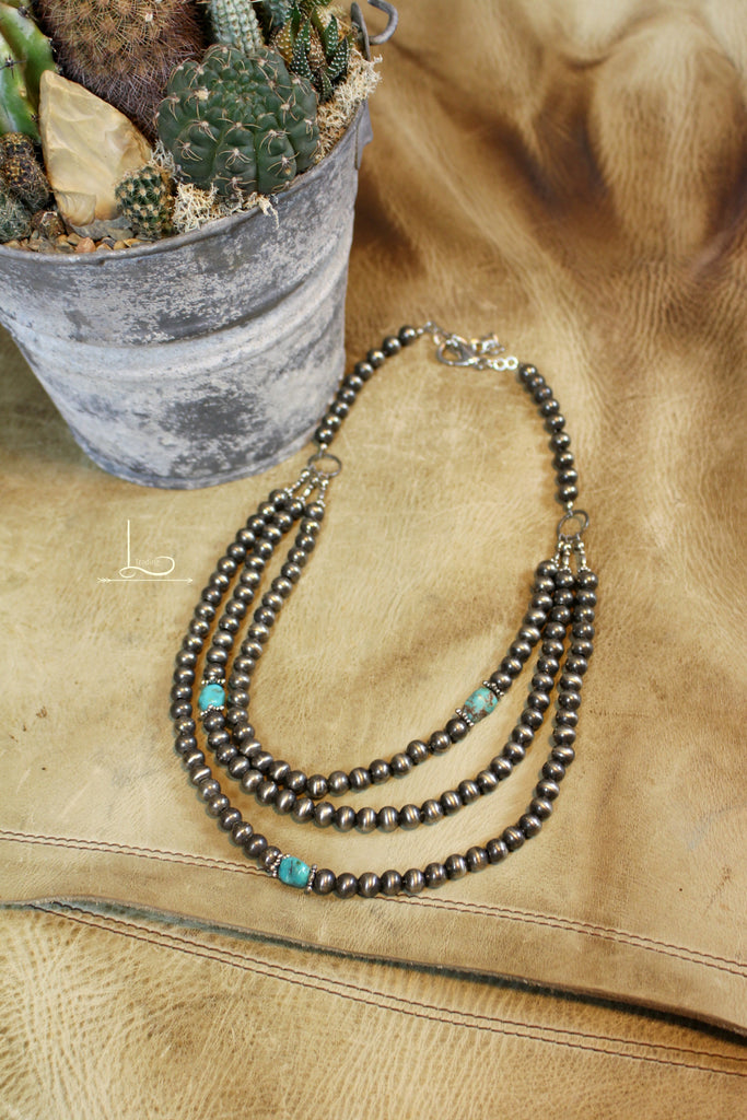 Layered Silver & Turquoise Necklace - L Trading