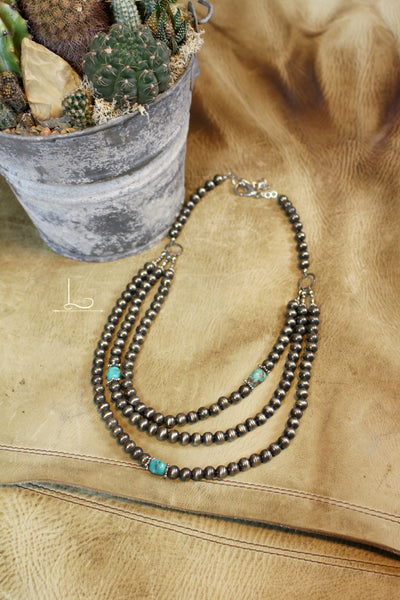 Layered Silver & Turquoise Necklace