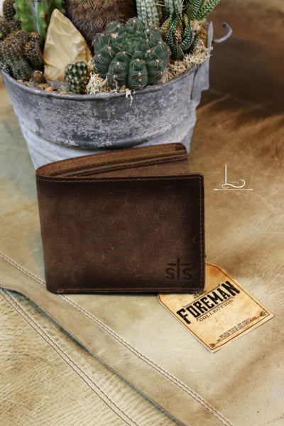 Foreman Wallet in Distressed Brown Leather - L Trading