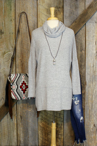 Grey Cowl Neck Tunic
