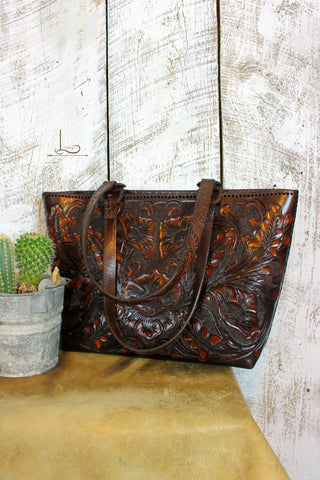 The Cafe Viejo Tooled Leather Tote