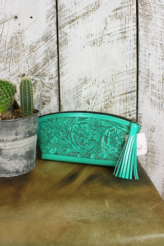 Turquoise Tooled Leather Cosmetic Tote/Clutch