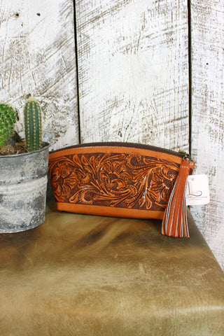 Natural Tooled Leather Cosmetic Tote/Clutch
