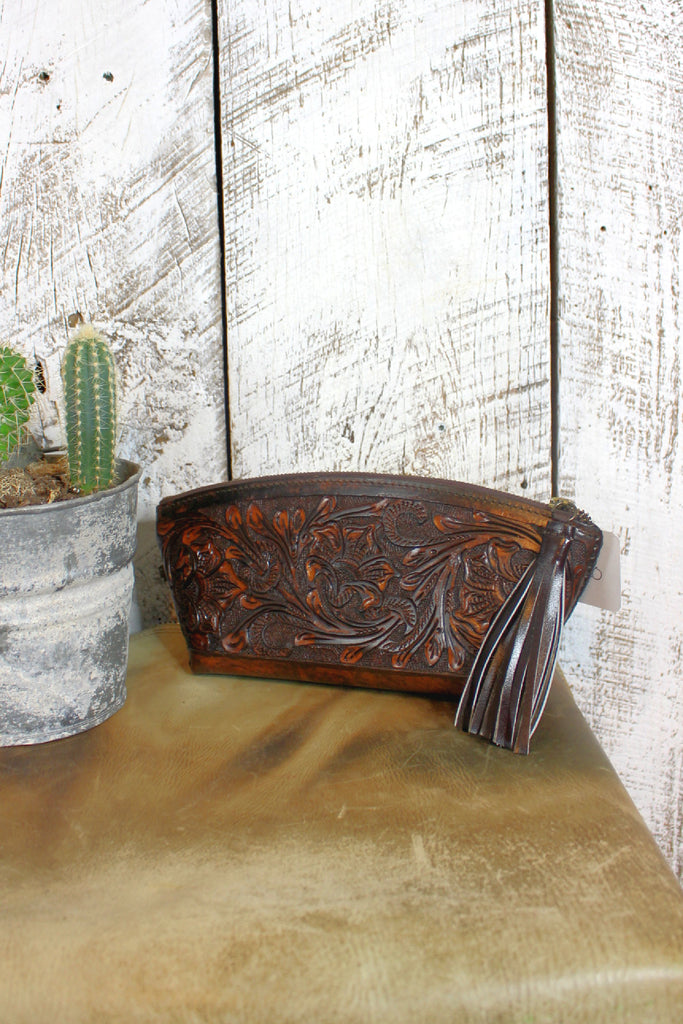 Cafe Viejo Tooled Leather Cosmetic Tote/Clutch