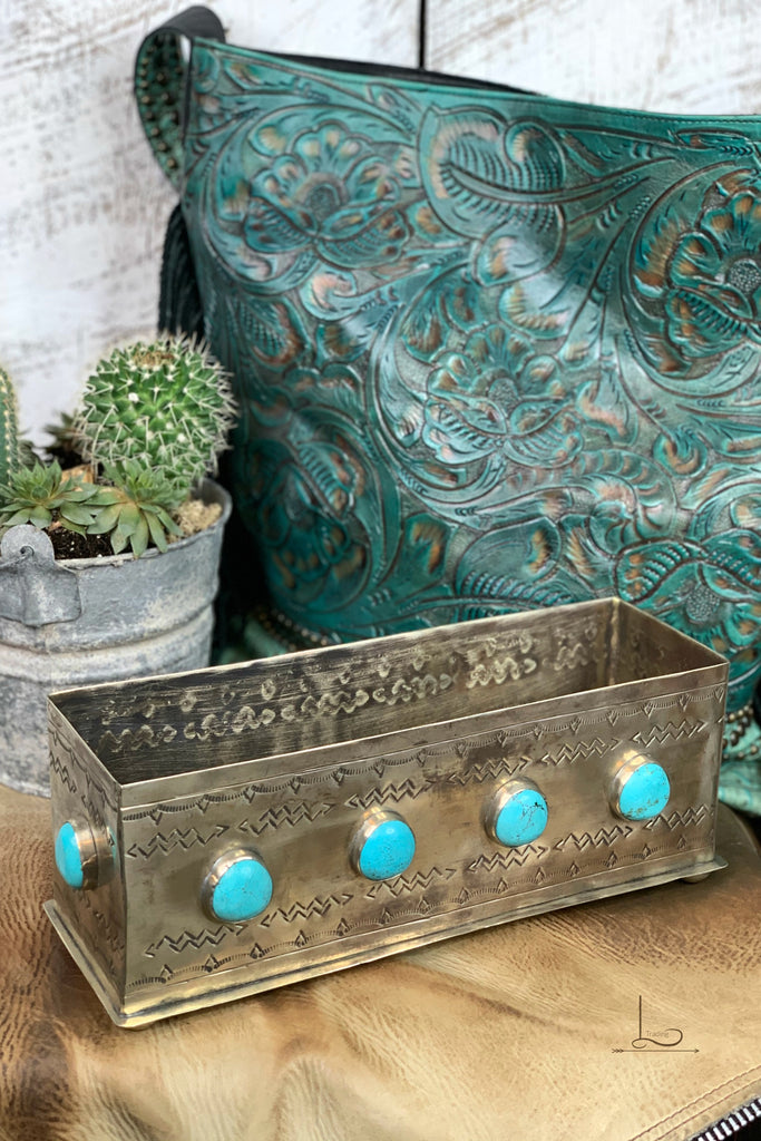 Silver & Turquoise Rectangular Box - L Trading