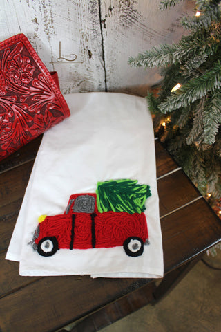 Hand Stitched Christmas Tree Towel