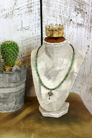 Verde Turquoise Bead Necklace with Mini Squash Pendant