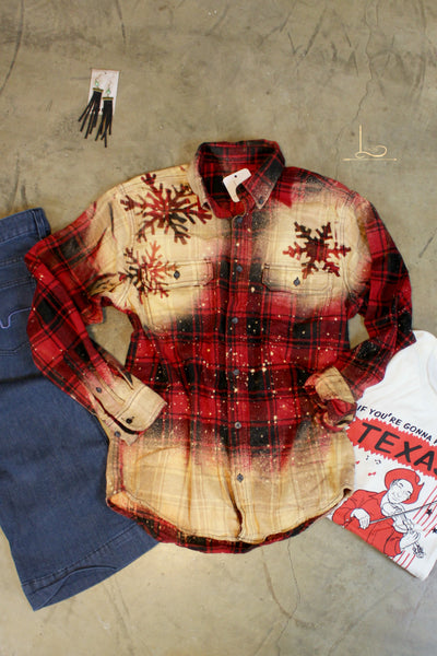 Bleached Snowflake Flannel - L Trading