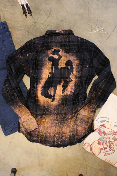 Bleached Bronc Rider Flannel - L Trading