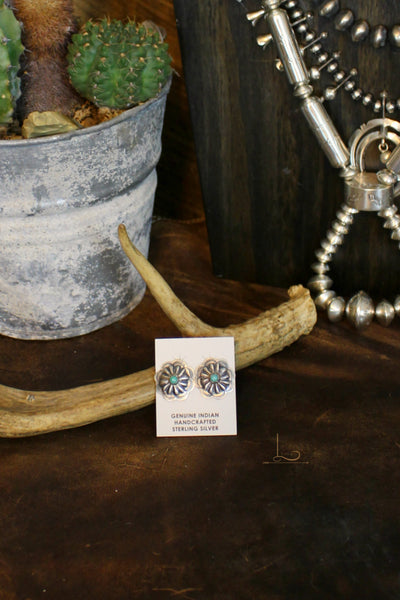 Sterling & Turquoise Floral Concho Studs - L Trading