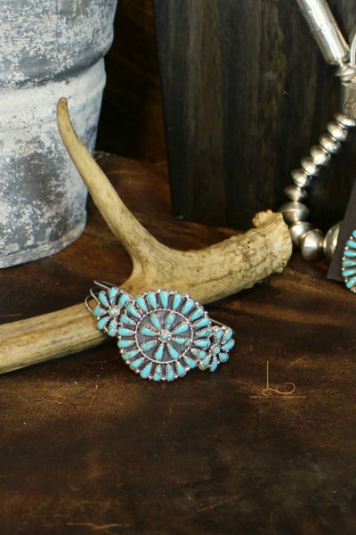 Turquoise & Sterling Floral Cuff