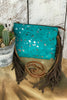 Turquoise Cowhide Crossbody/Clutch with Acid Wash
